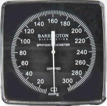 Barrington Diagnostics Clock Aneroid, Square Face, Manometer Gauge